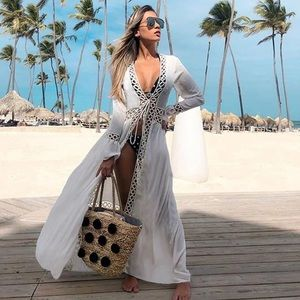 2020 Crochet White Knitted Beach Cover up dress